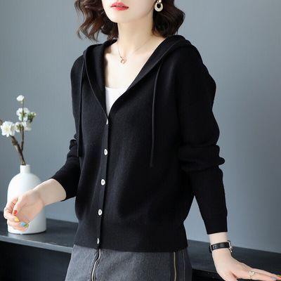 2020年春秋冬季新款休闲上衣针织开衫外搭薄连帽毛衣女外套