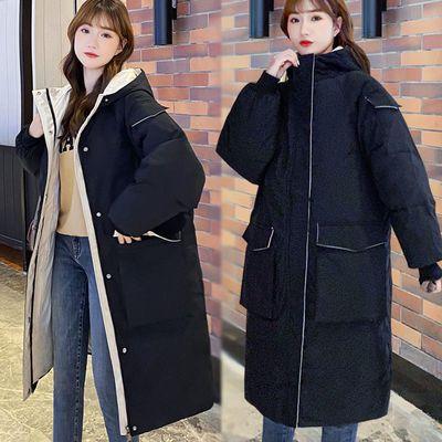71662/羽绒棉服女中长款棉袄2021冬季新款宽松大码连帽加厚保暖棉衣外套