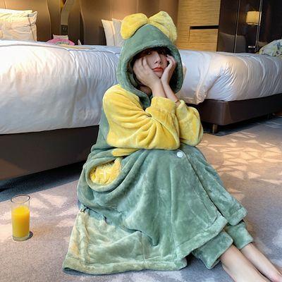 冬季韩版珊瑚绒睡衣女式可爱睡袍中长款法兰绒长袖两件套装家居服