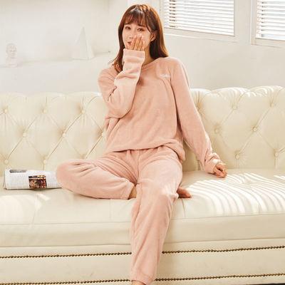 珊瑚绒暖暖裤套装加厚大码情侣套装家居外穿宽松睡衣秋冬休闲套装