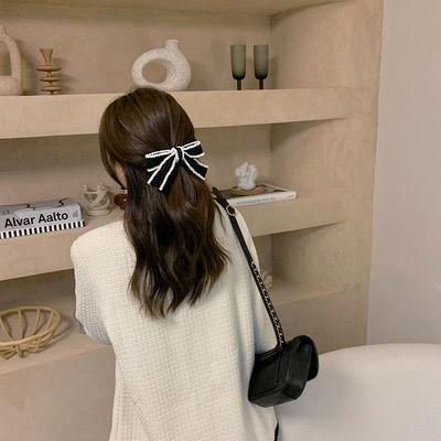 新款小香风蝴蝶结夹手工钉珠钢夹精致轻奢发夹百搭黑白头饰