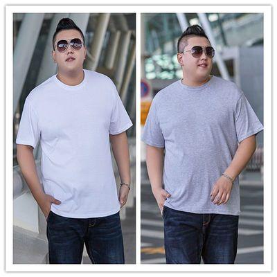 男士纯棉短袖t恤夏季纯色大码宽松半袖胖子大号背心打底上衣男装
