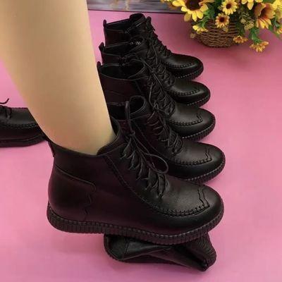 真皮妈妈鞋加绒棉鞋平底防滑保暖短靴侧拉链中年百搭皮靴马丁靴子