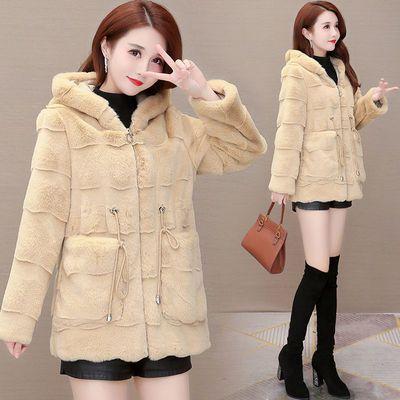 貂绒外套女2020秋冬新款加厚毛毛上衣显瘦中长款外衣小个子大衣潮