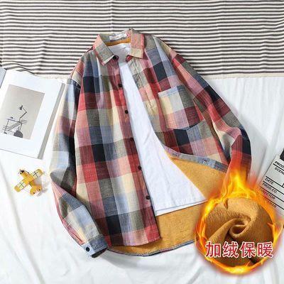 冬季加绒格子衬衫男长袖韩版修身青少年加厚保暖外套潮牌百搭衬衣