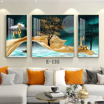 晶瓷画可镶钻欧式客厅装饰画沙发背景墙挂画轻奢墙壁画三联画
