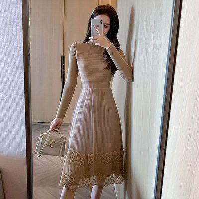 针织连衣裙女2020秋冬气质收腰显瘦打底衫秋冬装中长款网纱毛衣裙