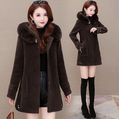 貂绒大衣女流行韩版秋冬装2020新款加厚中长款大毛领百搭呢子外套