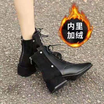 2020年春秋单靴粗跟短靴秋冬季新款百搭马丁靴子瘦瘦靴小高跟女鞋