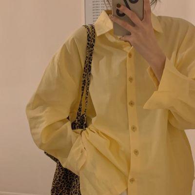 13874/纯棉韩版春夏白色长袖衬衫女百搭复古港味设计感小众白衬衣上衣
