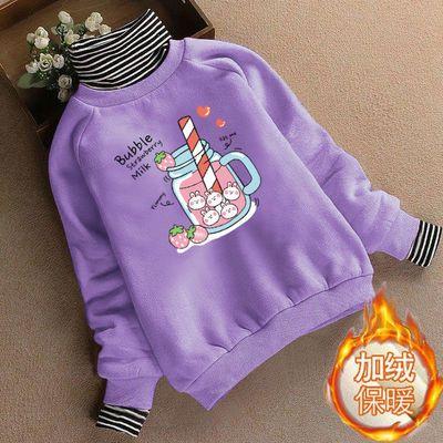 女童加绒加厚卫衣秋冬装2020新款洋气儿童大童保暖上衣高领打底衫