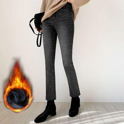 烟灰色加绒直筒牛仔裤女2020秋冬款高腰韩版显瘦宽松小个子八分裤