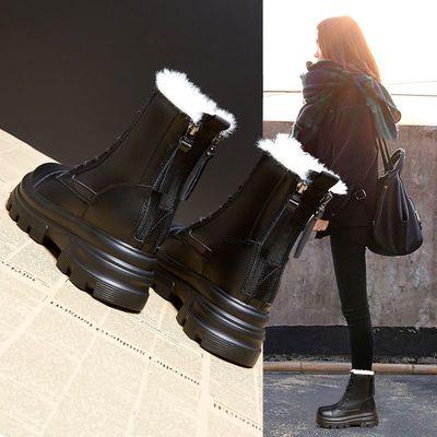 内增高马丁靴女2020年秋冬季新款厚底加绒大棉鞋雪地靴英伦风短靴