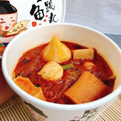 嗨吃家跳跳鱼丸火锅关东煮即食粉丝165g*6桶装整箱批发