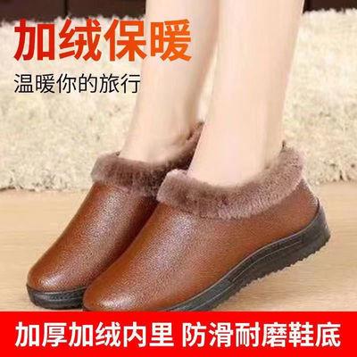 中老年妈妈冬季加绒加厚家居棉鞋防滑耐磨短靴加绒保暖雪地靴女鞋