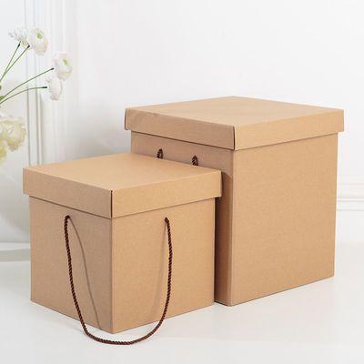 36493/礼品盒牛皮纸盒子手提纸箱礼物盒水果包装盒礼盒正方形大号定制印