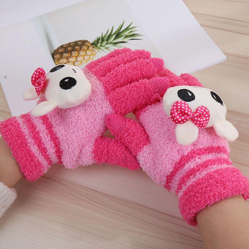 儿童手套冬季加绒加厚保暖可爱小孩手套宝宝男童女童写字五指手套