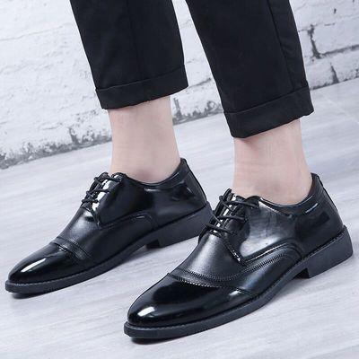 黑色皮鞋工作鞋系带平底平跟圆头黑色皮鞋男休闲单鞋春秋鞋子