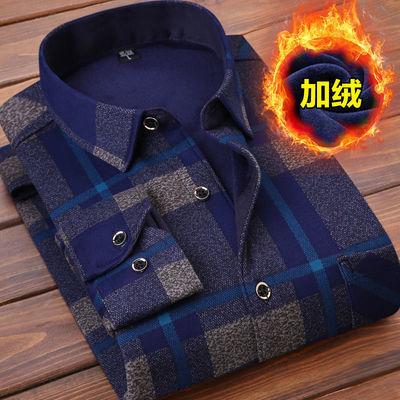 秋冬男士加绒加厚保暖衬衫休闲中青年男装衬衣