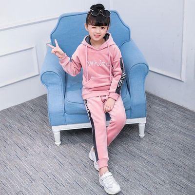 女童套装秋冬装2020新款洋气中大童装保暖卫衣儿童加绒加厚两件套
