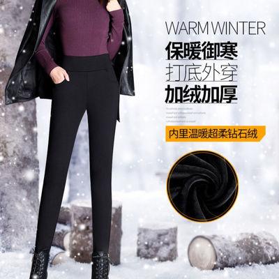 加长裤子女高个子高腰加绒500G加大码胖mm女裤秋冬小脚打底裤外穿