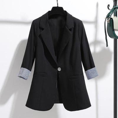 小西装外套女2020年夏季秋季新款韩版修身垂感薄款七分袖西服上衣