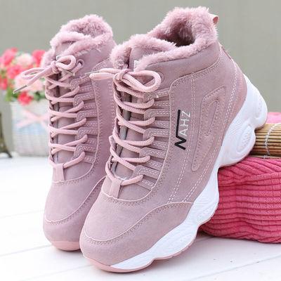 女鞋2021冬季新款高帮鞋女加绒保暖棉鞋女雪地靴休闲马丁短靴子潮