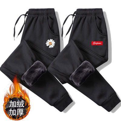 92467/秋冬新款加绒长裤子男运动休闲裤男士束脚裤潮流弹力宽松大码男裤