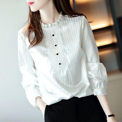 22526/白衬衫女荷叶边领2021春季新款韩版条纹长袖女人味上衣设计感小众