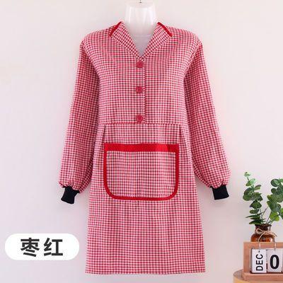 围裙女工作洋气厨房网红可爱纯棉罩衣新款成人长袖围腰女劳保耐磨【2月28日发完】