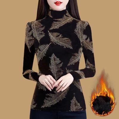 加绒打底衫女秋冬半高领长袖t恤2020新款百搭长袖上衣紧身洋气潮