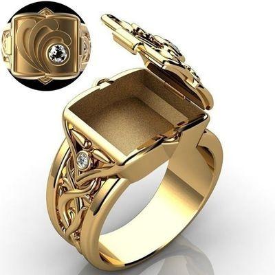 78754/热卖时尚嘻哈朋克镀18K黄金男士戒指霸气雕花翻盖男士微镶钻戒指