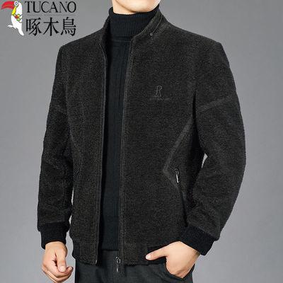 啄木鸟爸爸装加厚冬季新款毛呢夹克中年男士休闲立领呢子男装外套