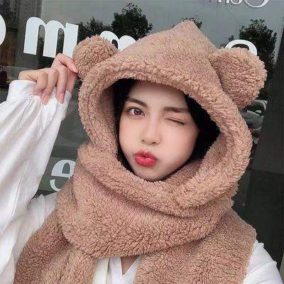 冬季小熊围巾帽子手套三件套加厚防风抗寒超萌韩版保暖连帽围脖