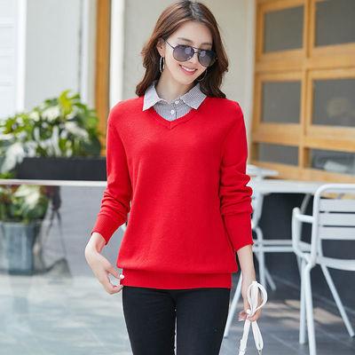 假两件有领毛衣套头针织衫韩版宽松百搭外穿型大红色女士上衣秋冬
