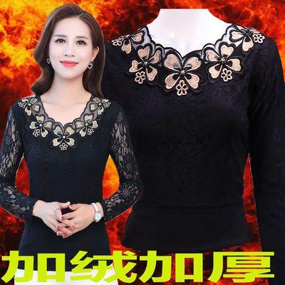 加绒加厚保暖长袖蕾丝衫冬季新款修身上衣百搭女装T恤上衣打底衫