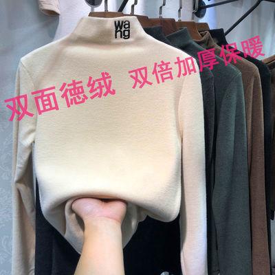 加厚双面恒温德绒磨毛半高领修身打底衫女秋冬新款韩版长袖t恤潮