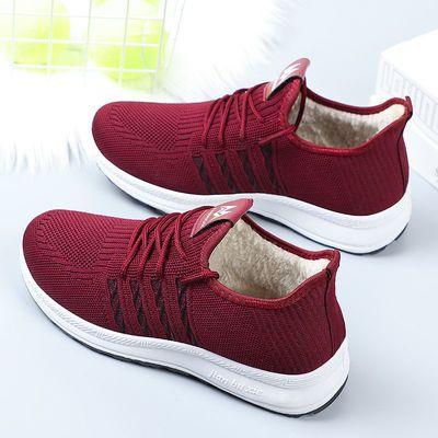 冬季新款女鞋加厚加絨保暖平底鞋舒適防滑運動鞋輕便耐磨媽媽鞋