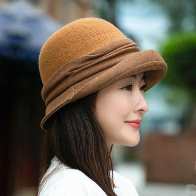 76342/女士渔夫帽子秋冬季韩版潮时尚百搭礼帽日系英伦复古羊毛毛呢盆帽