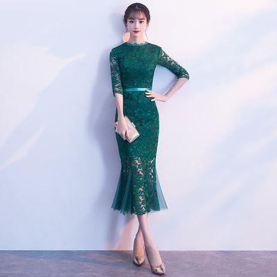 2020年春夏新款改良中长款鱼尾礼服年轻款少女修身优雅旗袍连衣裙