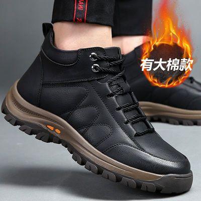 冬季加绒男鞋防滑软底爸爸鞋户外男士运动鞋韩版潮流耐磨老人鞋