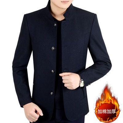 中年男士外套秋冬款加棉加厚中老年夹克男立领爸爸装冬季休闲上衣
