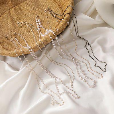 69470/挂脖口罩绳防丢挂绳链复古珍珠水晶串珠项链气质口罩链眼镜链