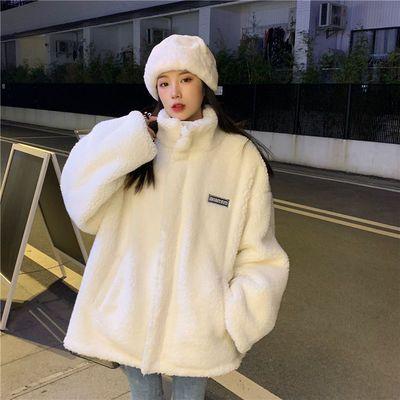 新款冬季仿羊羔毛绒百搭卫衣加绒加厚ins纯色软绵上衣长袖外套潮