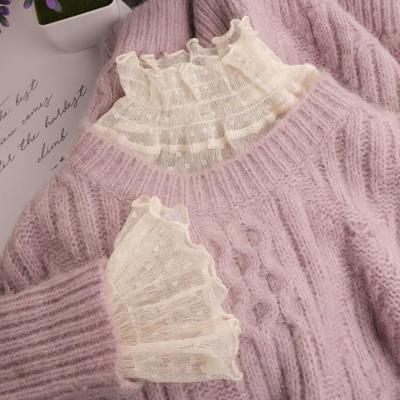 半高领网纱蕾丝打底衫女秋冬内搭配毛衣洋气纱衣荷叶花边木耳上衣