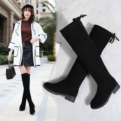过膝长靴女平底2020新款过膝高筒靴女学生韩版弹力靴显瘦过膝女靴