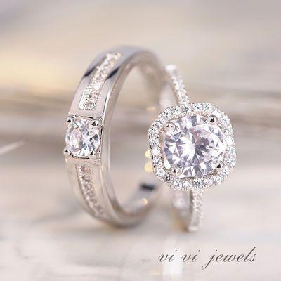 19576/戒指女男潮情侣戒指一对情侣款大钻石戒指韩版学生简约钻戒可调节