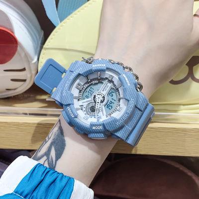 26555/学生电子表男女手表夜光运动初高中新款网红牛仔纹韩版简约学院风