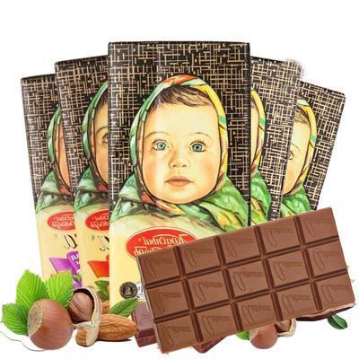 特价临期6块*100克俄罗斯进口巧克力爱莲巧牌大头娃娃巧克力零食