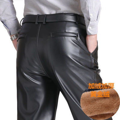 秋冬款皮裤男士防水防油防风加肥加大不裂皮不起皮宽松高腰中老年